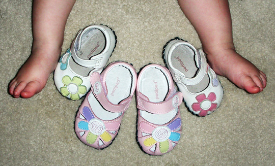 The jump in size from 0-6 month to 6-12 month PediPed shoes is huge.